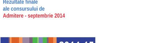 Admitere - Septembrie 2014 - Rezultate finale