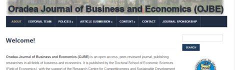 Aparitia numărului 1, volumul 2 al Oradea Journal of Business and Economics