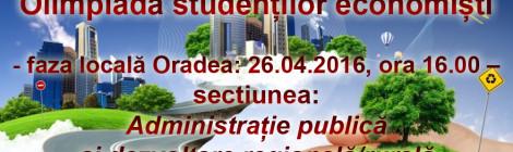 Olimpiada studentilor economisti - faza locală pentru sectiunea Administrație publică și dezvoltare regională/rurală