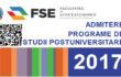 Admitere programe de studii postuniversitare