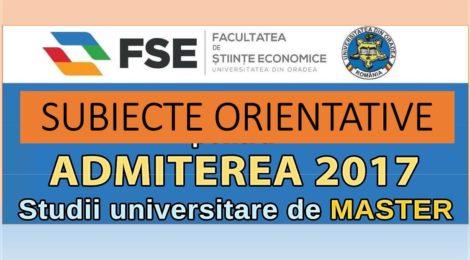 Subiecte orientative pentru Admitere Master FSE