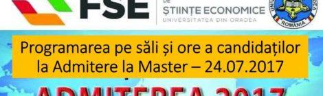 Programarea candidatilor la Admitere Master - 24.07.2017
