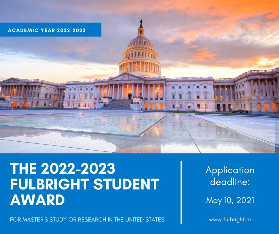 Burse Fulbright Romania pentru anul academic 2022-2023