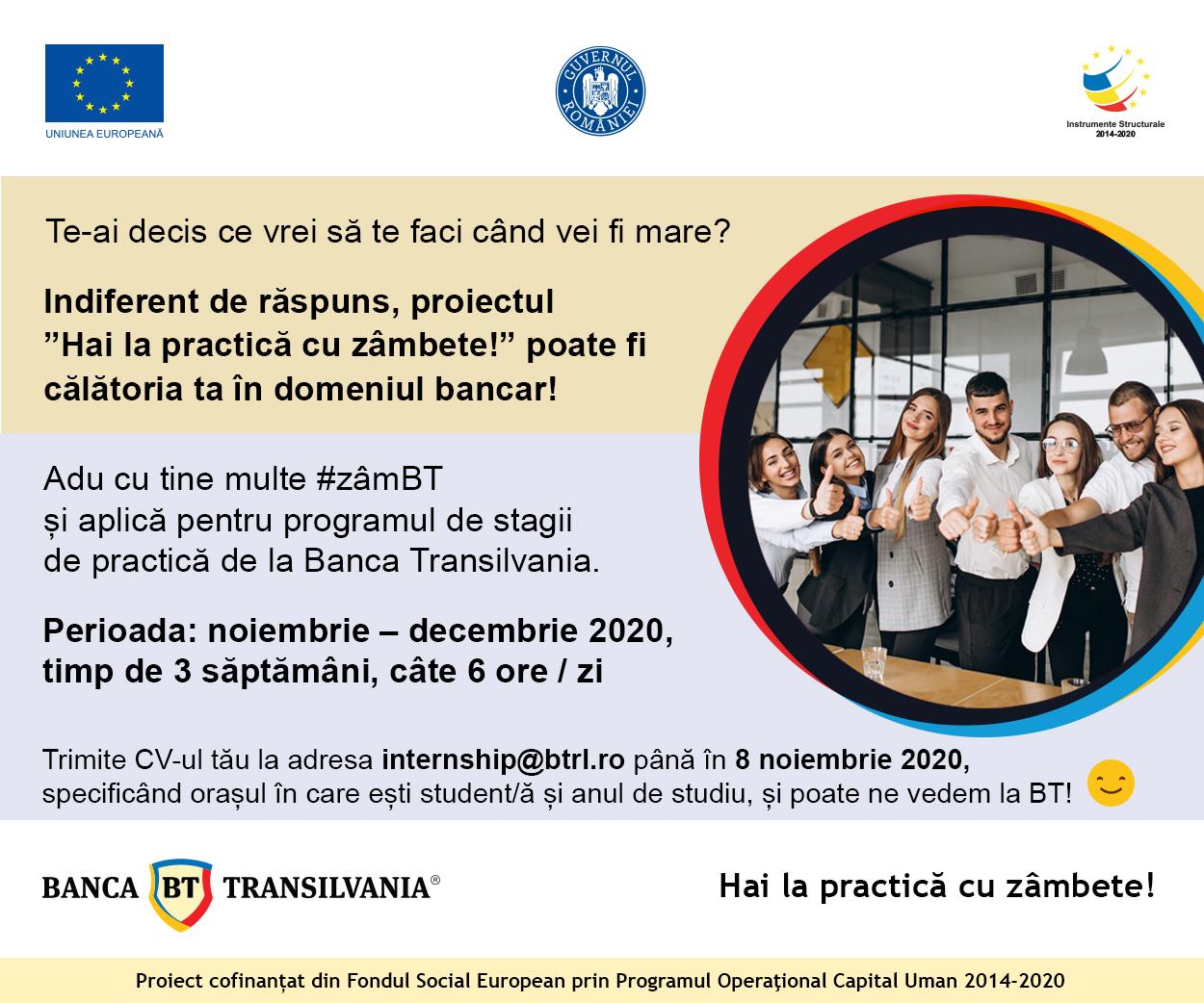 Oportunitati de internship la Banca Transilvania pentru studentii FSE